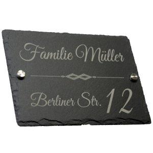 Türschild Schiefer Familie Name mit Gravur