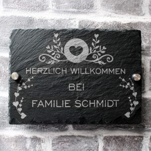 bearbeitet3 1 300x300 - Türschild Namensschild Schiefer mit Familienname Modern Gravur