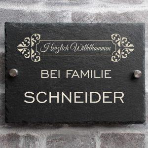 Schifer1 300x300 - Türschild Namensschild Schiefer mit Familienname Modern Gravur Hausschild