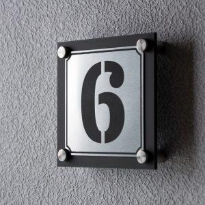 2 300x300 - Hausnummernschild Anthrazit Edelstahl Modern Emaille