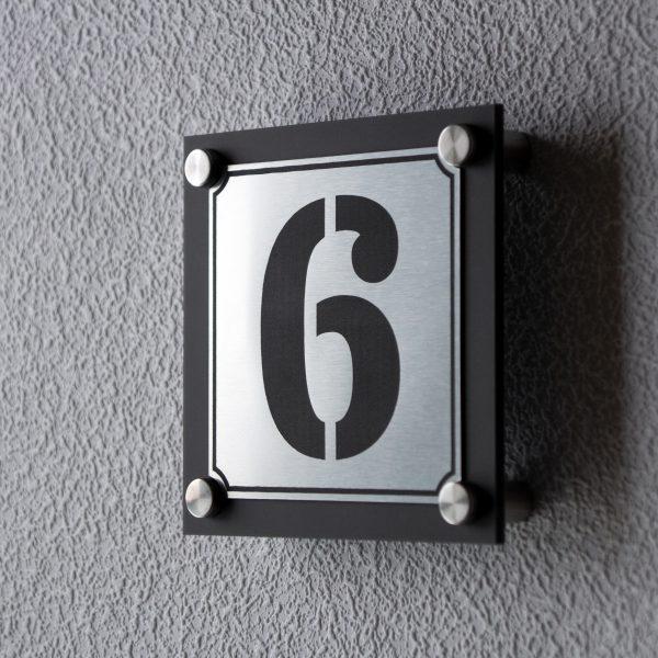 2 600x600 - Hausnummernschild Anthrazit Edelstahl Modern Emaille