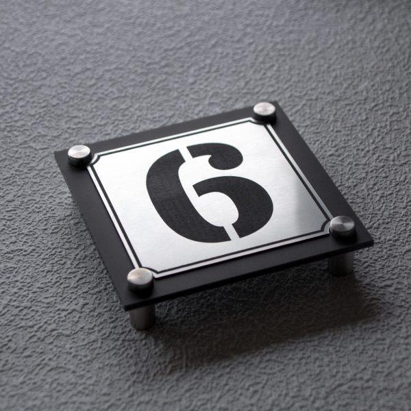 3 600x600 - Hausnummernschild Anthrazit Edelstahl Modern Emaille