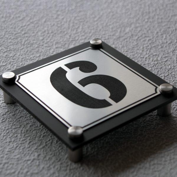 4 600x600 - Hausnummernschild Anthrazit Edelstahl Modern Emaille