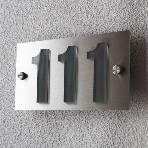 Hausnummernschild Anthrazit Edelstahl Modern